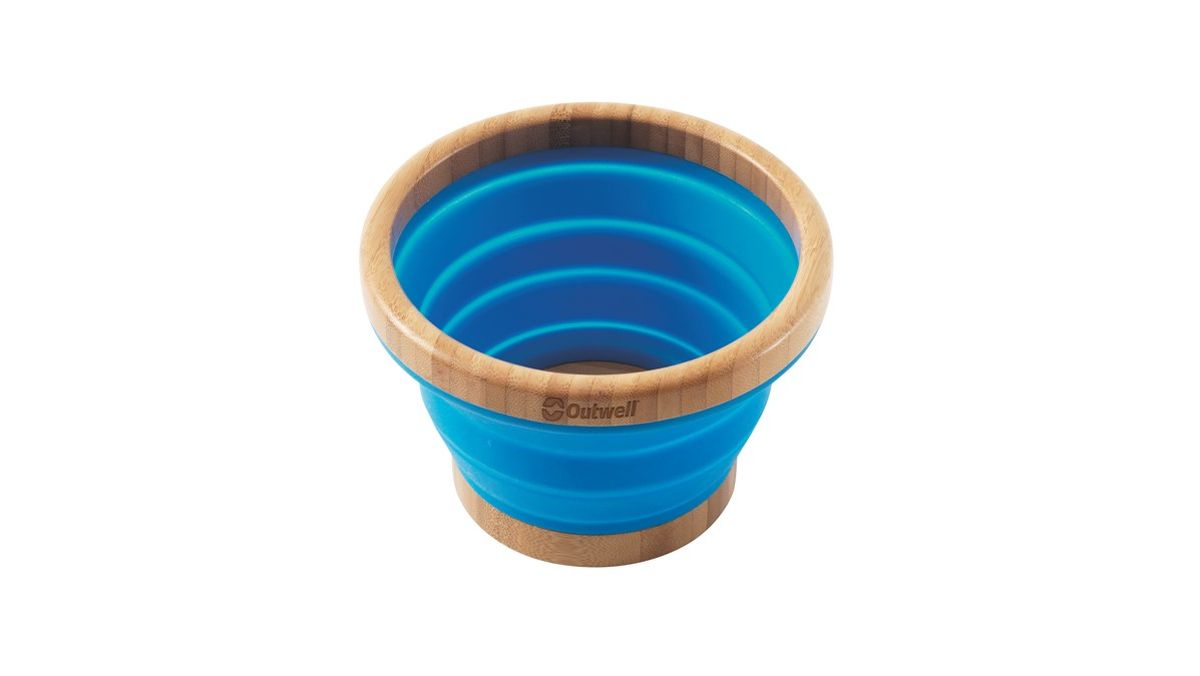 Миска складная Outwell Collaps Bamboo Bowl M, цвет: синий, коричневый корзина складная outwell collaps basket цвет зеленый