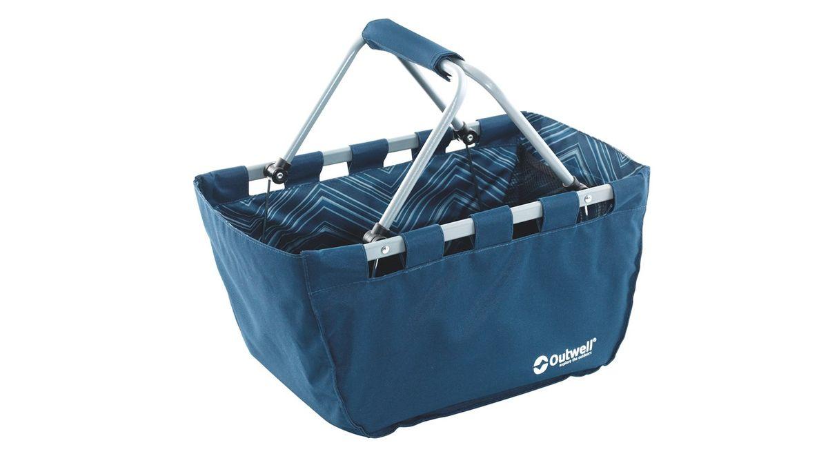 Корзина складная Outwell Folding Basket, цвет: синий, 50 x 29 x 25 см650455Корзина Outwell Folding Basket отлично подойдет для пикника. Изделие выполнено из прочного текстиля и имеет металлический каркас. Ее можно использовать для хранения различных вещей, брать с собой на пикник, в магазин и другие места. Корзина имеет сетчатый карман и карман на застежке-молнии. Удобная ручка помогает при транспортировке. В сложенном виде корзина занимает мало места.