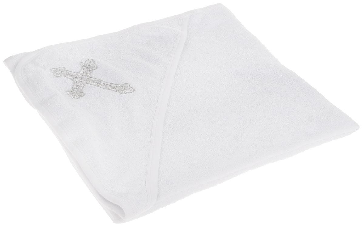 Крестильное полотенце с капюшоном  Клякса , цвет: белый, серебро, 100 х 80 см
