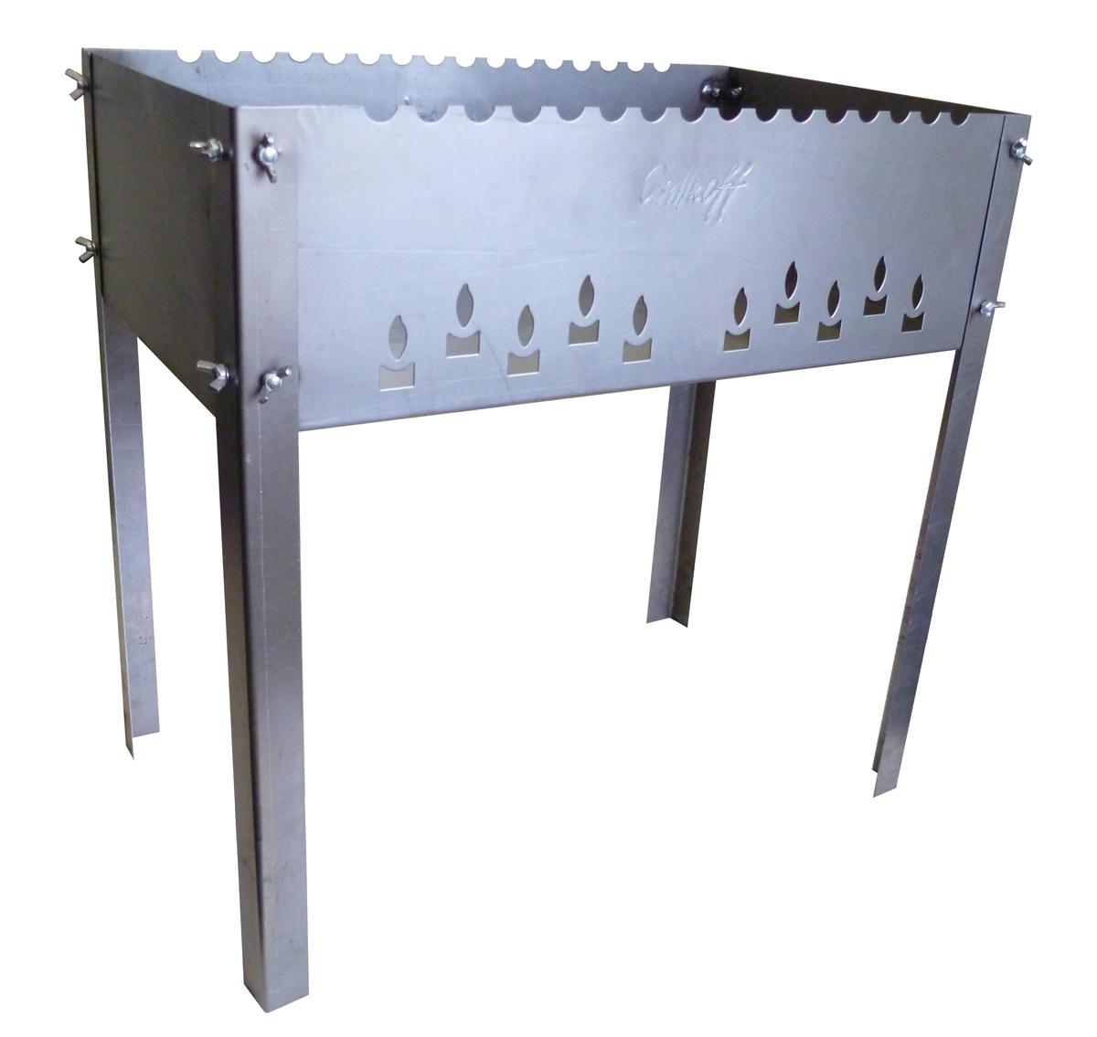 Мангал Grillkoff Max, с 6 шампурами, 50 х 30 х 50 см248Мангал Grillkoff Max выполнен из высококачественной стали. С барашками, с волной. Мангал без усилий собирается для применения. Конструкция позволяет с комфортом готовить на мангале.В комплекте 6 шампуров, выполненных из нержавеющей стали.Размер мангала (с учетом ножек): 50 х 30 х 50 см.Глубина мангала: 14,5 см.Толщина стали: 1,5 мм.Длина шампуров: 50 см.Толщина шампуров: 0,8 мм.