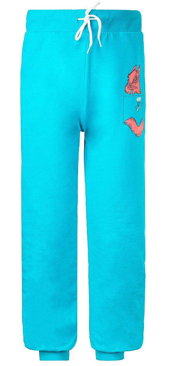 Брюки спортивные для девочки M&D, цвет: бирюзовый. WJJ26038M-28. Размер 104WJJ26038M-28Стильные спортивные брюки M&D для девочки станут отличным дополнением к гардеробу вашего ребенка. Изготовленные из хлопка с небольшим дополнением лайкры, они мягкие и приятные на ощупь.Брюки на талии имеют широкую эластичную резинку со шнурком. По бокам расположены два втачных кармана. Нижняя часть штанин дополнена широкими трикотажными манжетами. Оформлена модель принтом с изображением белочки.