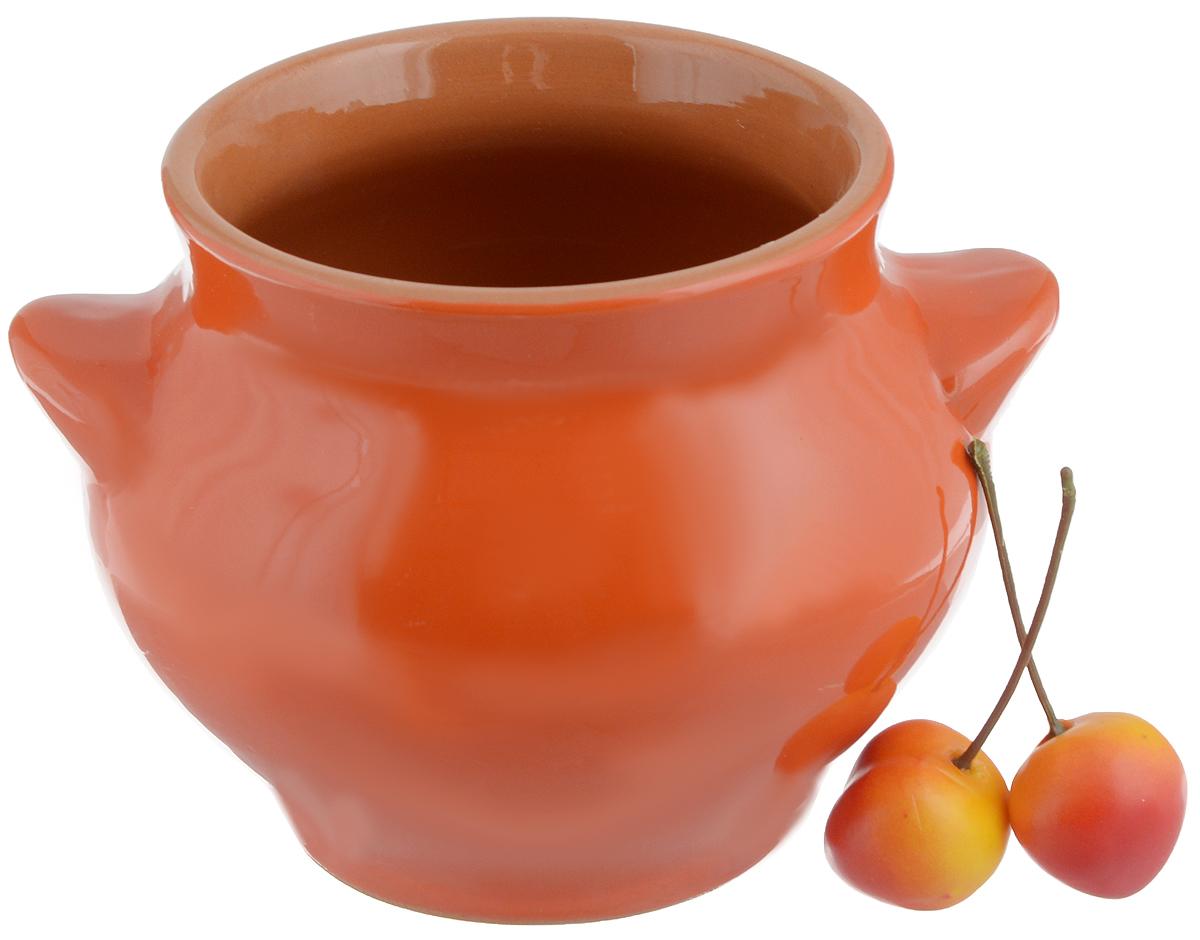 """Горшочек для запекания Борисовская керамика """"Радуга"""", цвет: оранжевый, 550 мл"""
