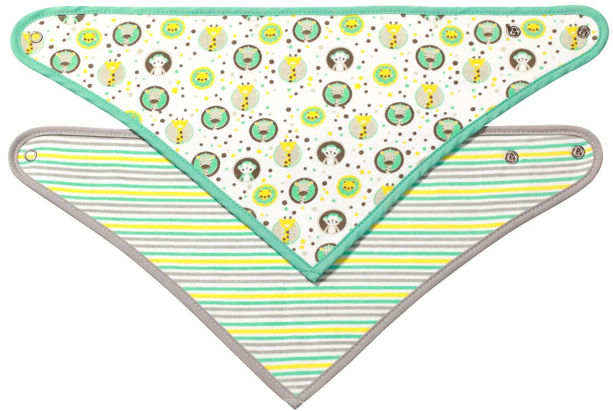 BabyOnoНабор нагрудников цвет зеленый серый 2 шт