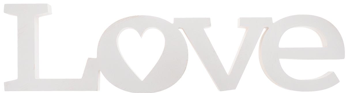 "Табличка декоративная Magellanno ""Love2"", цвет: белый, 56 х 15 см"