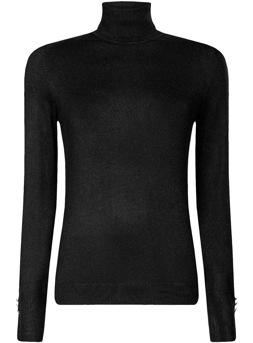 Водолазка женская oodji Collection, цвет: черный. 74412572B/24525/2900N. Размер XL (50)