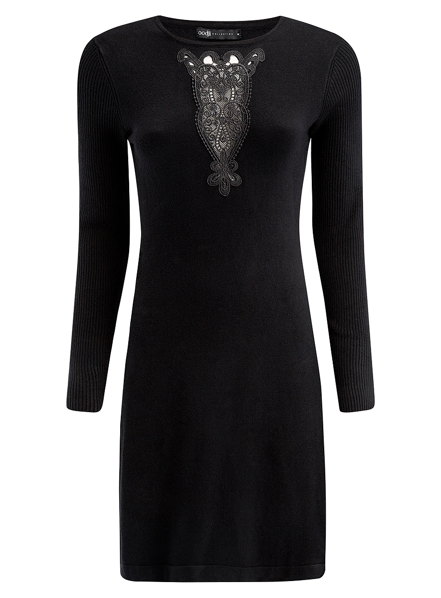 Платье oodji Collection, цвет: черный. 73912220/33506/2900N. Размер M (46) платье oodji collection цвет черный белый 24001104 1 35477 1079s размер l 48