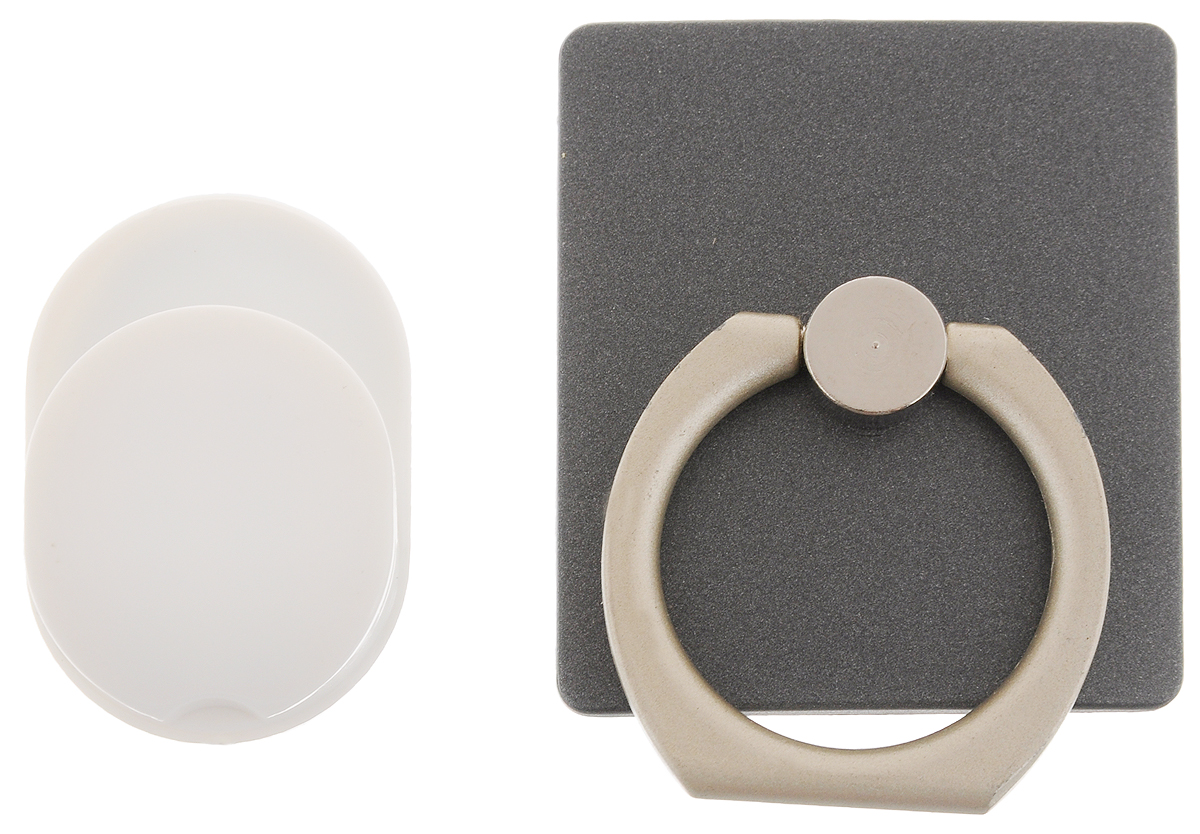 """Держатель телефона Оранжевый слоник """"ACL"""", с кольцом, цвет: черный, белый ACL0005B"""