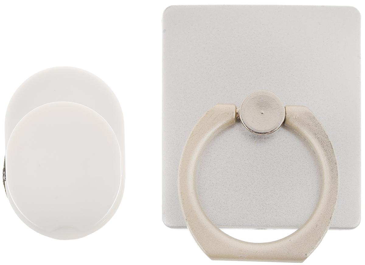 """Держатель телефона Оранжевый слоник """"ACL"""", с кольцом, цвет: серебристый, белый ACL0005S"""
