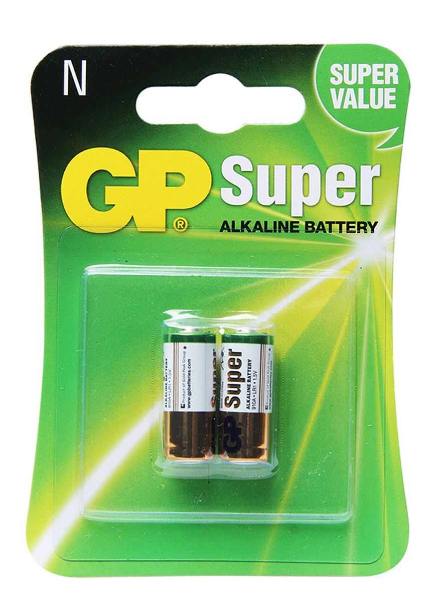 Батарейка алкалиновая GP Batteries, тип 910А (LR01), 2 шт