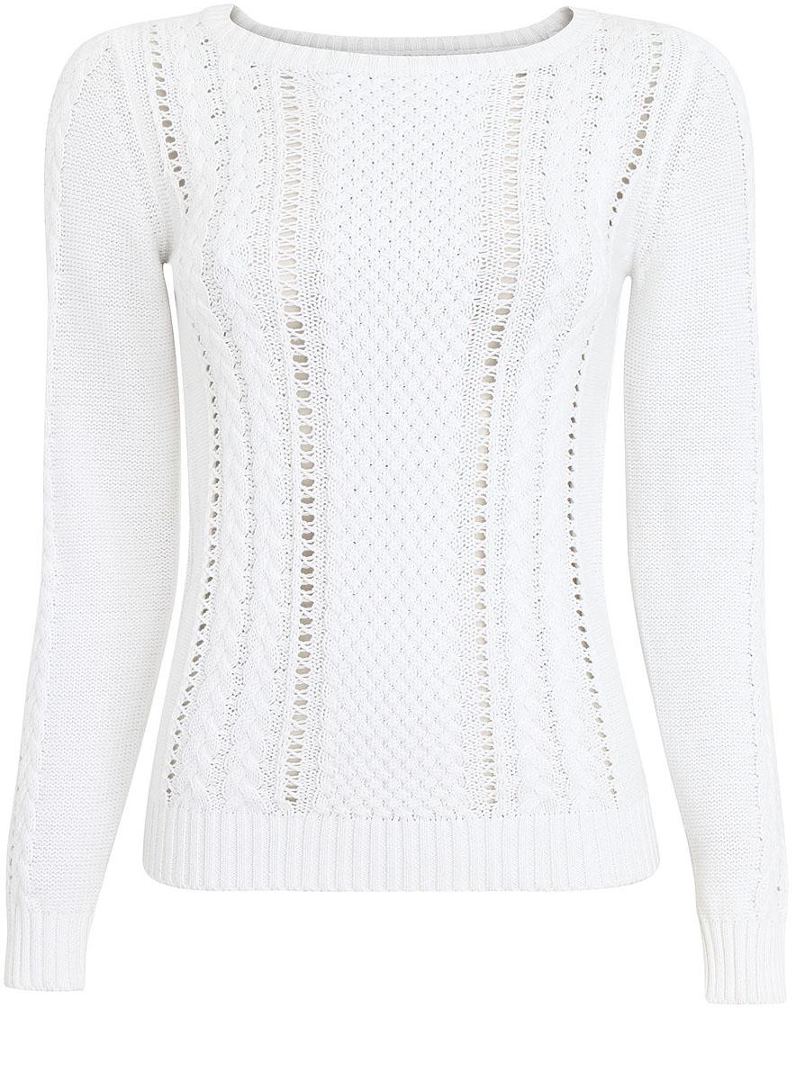 Джемпер женский oodji Ultra, цвет: белый. 63807288/31347/1000N. Размер XS (42) цена