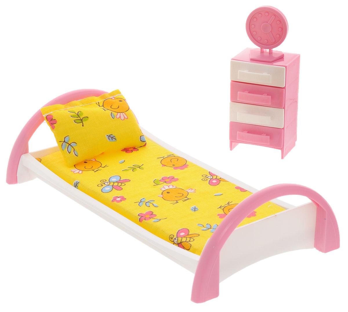 Форма Набор мебели для кукол Кровать с тумбочкой цвет желтый goki мебель для кукольной больницы комната ожидания 14 предметов