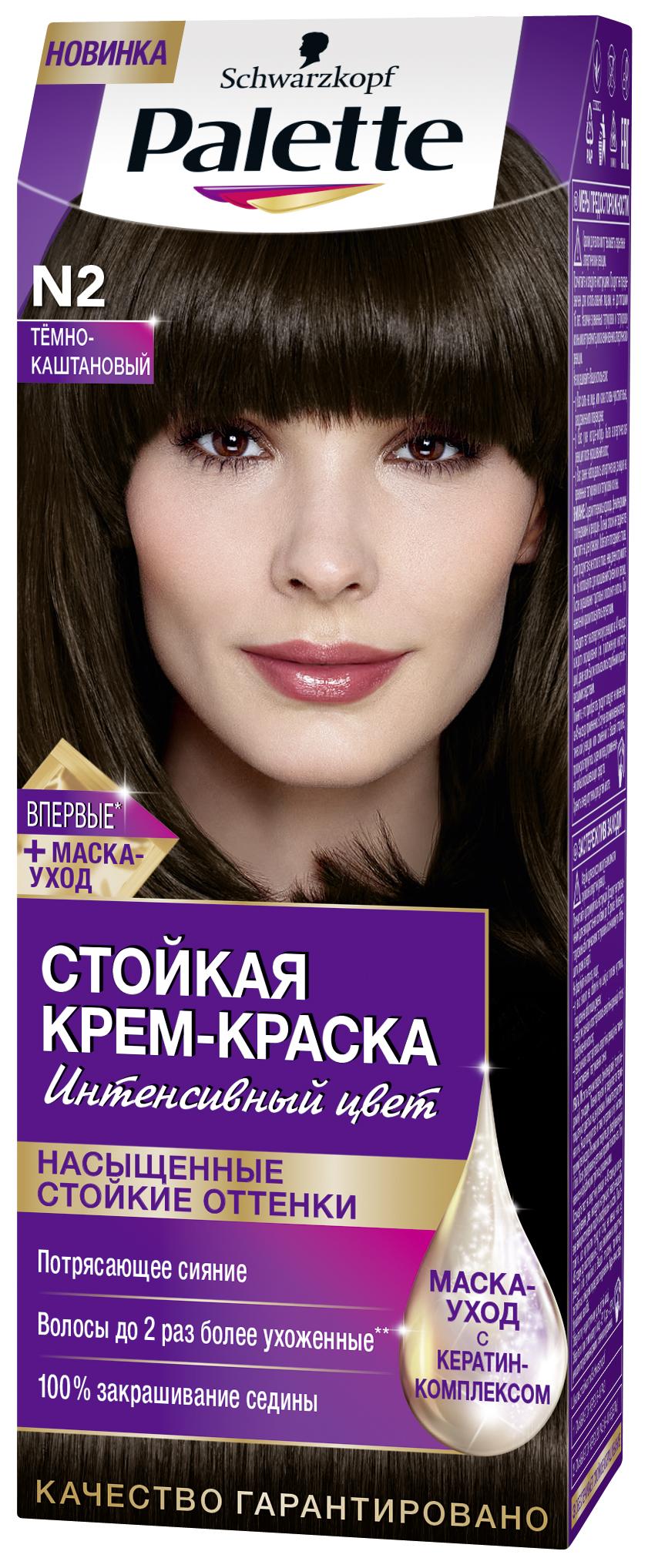 Palette Стойкая крем-краска N2 Тёмно-каштановый 110мл09350200Знаменитая краска для волос Palette при использовании тщательно окрашивает волосы, стойко сохраняет цвет, имеет множество разнообразных оттенков на любой, самый взыскательный, вкус.