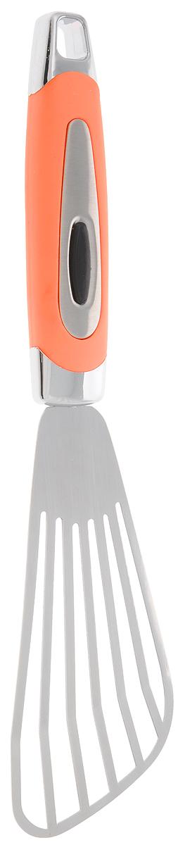 Лопатка кулинарная Gotoff, с прорезями, длина 26 смJH-HP01040Лопатка с прорезями Gotoff изготовлена из нержавеющей стали и пластика. Удобная рукоятка оснащена прорезиненной вставкой и отверстием для подвешивания.Практичная и удобная лопатка Gotoff займет достойное место среди аксессуаров на вашей кухне.Длина лопатки: 26 см.Размер рабочей части лопатки: 13 х 6 см.