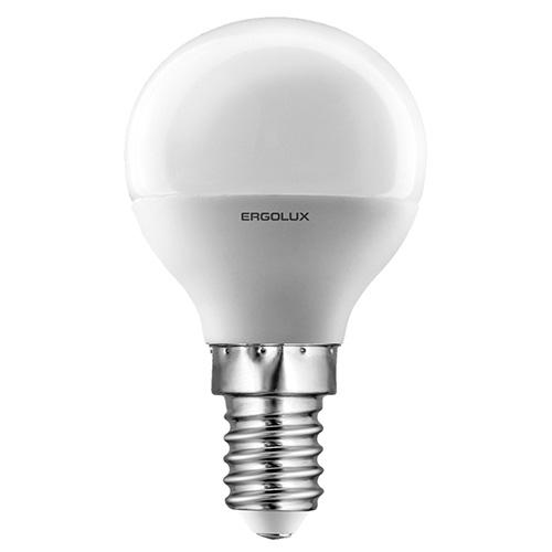 Лампа светодиодная Ergolux LED-G45, холодный свет, цоколь E14, 5 Вт12140Светодиодная лампа Ergolux LED-G45 - новое решение в светотехнике. Такая лампа экономит много электроэнергии благодаря низкой потребляемой мощности. Она идеально подходит для основного и акцентного освещения интерьеров, витрин, декоративной подсветки. Кроме того, светодиодная лампа создает уютную атмосферу и позволяет экономить электроэнергию уже с первого дня использования.