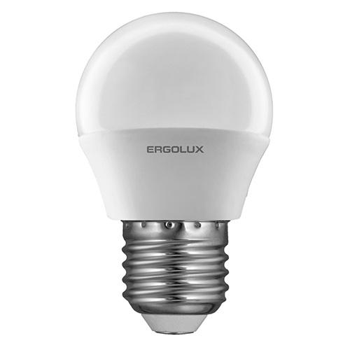 Лампа светодиодная Ergolux LED-G45, холодный свет, цоколь E27, 5 Вт12141Светодиодная лампа Ergolux LED-G45 - новое решение в светотехнике. Такая лампа экономит много электроэнергии благодаря низкой потребляемой мощности. Она идеально подходит для основного и акцентного освещения интерьеров, витрин, декоративной подсветки. Кроме того, светодиодная лампа создает уютную атмосферу и позволяет экономить электроэнергию уже с первого дня использования.