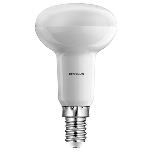 Лампа светодиодная Ergolux LED-R50, холодный свет, цоколь Е14, 5,5 Вт12153Светодиодная лампа Ergolux LED-R50 - новое решение в светотехнике. Такая лампа экономит много электроэнергии благодаря низкой потребляемой мощности. Она идеально подходит для основного и акцентного освещения интерьеров, витрин, декоративной подсветки. Кроме того, светодиодная лампа создает уютную атмосферу и позволяет экономить электроэнергию уже с первого дня использования. Длина лампочки: 9,5 см.