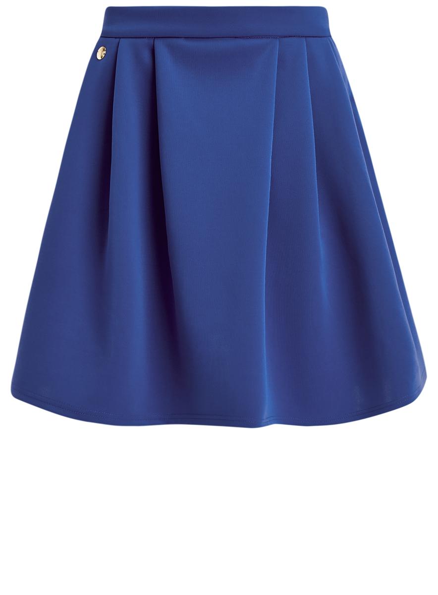 Юбка oodji Ultra, цвет: синий. 14103023-1/33038/7500N. Размер XS (42)14103023-1/33038/7500NЮбка oodji Ultra выполнена из эластичного полиэстера. Модель-миди с застежкой-молнией сзади. Спереди и сзади от пояса изделиедекорировано складками. Боковые стороны дополнены прорезными карманами.