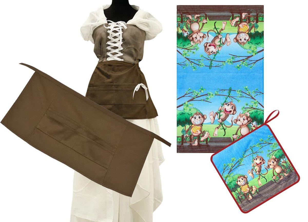 Комплект кухонный Soavita Monkey, цвет: голубой, коричневый, 3 предмета82193Комплект кухонный Soavita Monkey состоит из полотенца, салфетки и передника. Полотенце и салфетка выполнены из высококачественной микрофибры и оформлены красочным рисунком с изображением обезьянок. Салфетка по краю окантована и дополнена петелькой. Изделия быстро впитывают влагу, легко стираются и обладают длительным сроком службы. Передник с завязками на талии изготовлен из натурального хлопка и дополнен4 карманами для аксессуаров.В кухонном комплекте Soavita Monkey есть весь необходимый текстиль для кухни. Такой набор порадует вас практичностью и функциональностью, а стильный яркий дизайн гармонично дополнит интерьер кухни.Размер салфетки: 30 х 30 см.Размер полотенца: 38 х 64 см.Размер передника: 67 х 32 см.