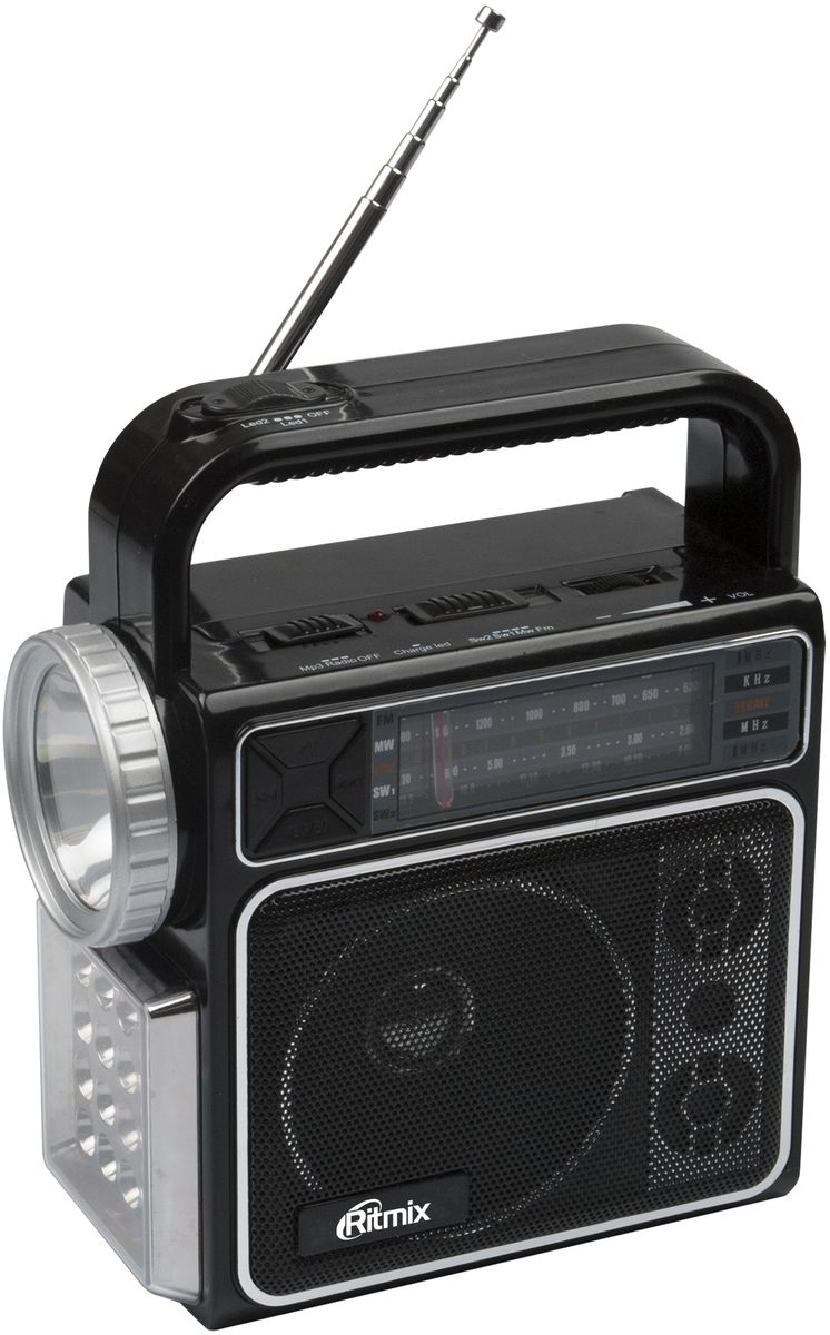 Ritmix RPR-404, Black радиоприемникRPR-404Ritmix RPR-404 – портативный радиоприёмник, работающий на диапазонах FM, AM, SW1, SW2. Устройство поддерживает запись аудио с двух источников: с радио и со встроенного микрофона (функция диктофона). RPR-404 также имеет собственный mp3-плеер, позволяющий воспроизводить аудиофайлы с карт памяти или USB-флэшки. Кроме того устройство имеет два светодиодных фонаря высокой яркости.