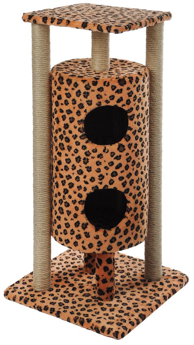 Домик-когтеточка Меридиан Ракета, 5-ярусный, цвет: коричневый, черный, 51 х 51 х 104 смД527Ле