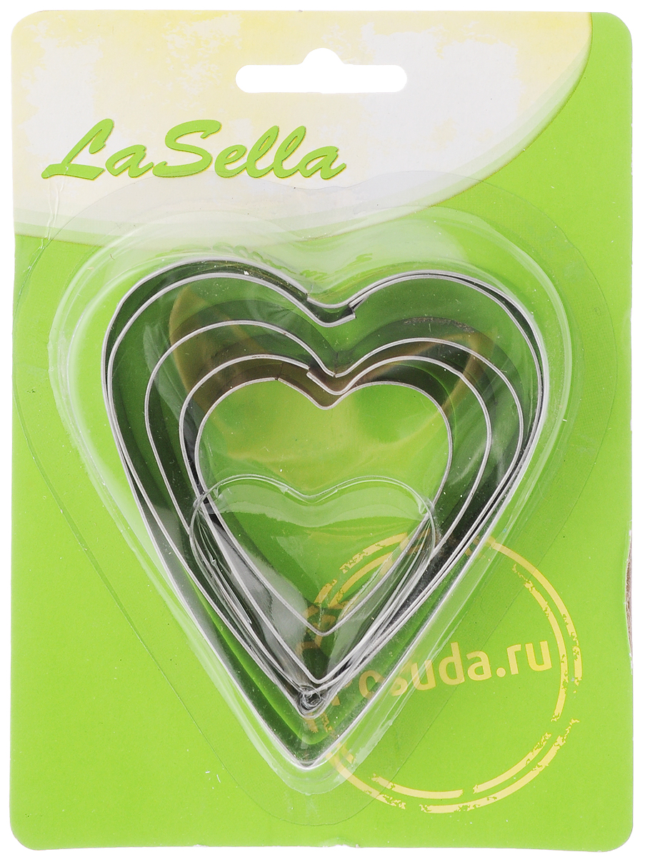 Набор форм для яичницы LaSella, цвет: серебристый, 5 штHD8035Набор форм для яичницы LaSella состоит из 5 форм в виде сердца, изготовленных из коррозионностойкой стали. Формы предназначены для приготовления яичницы, омлета, оладий.Сделайте утренний завтрак не только вкусным, но и красивым с набором форм для яичницы LaSella!Размер самой большой формы: 9 х 7,7 х 1,5 см.Размер самой маленькой формы: 4,5 х 4,3 х 1,5 см.