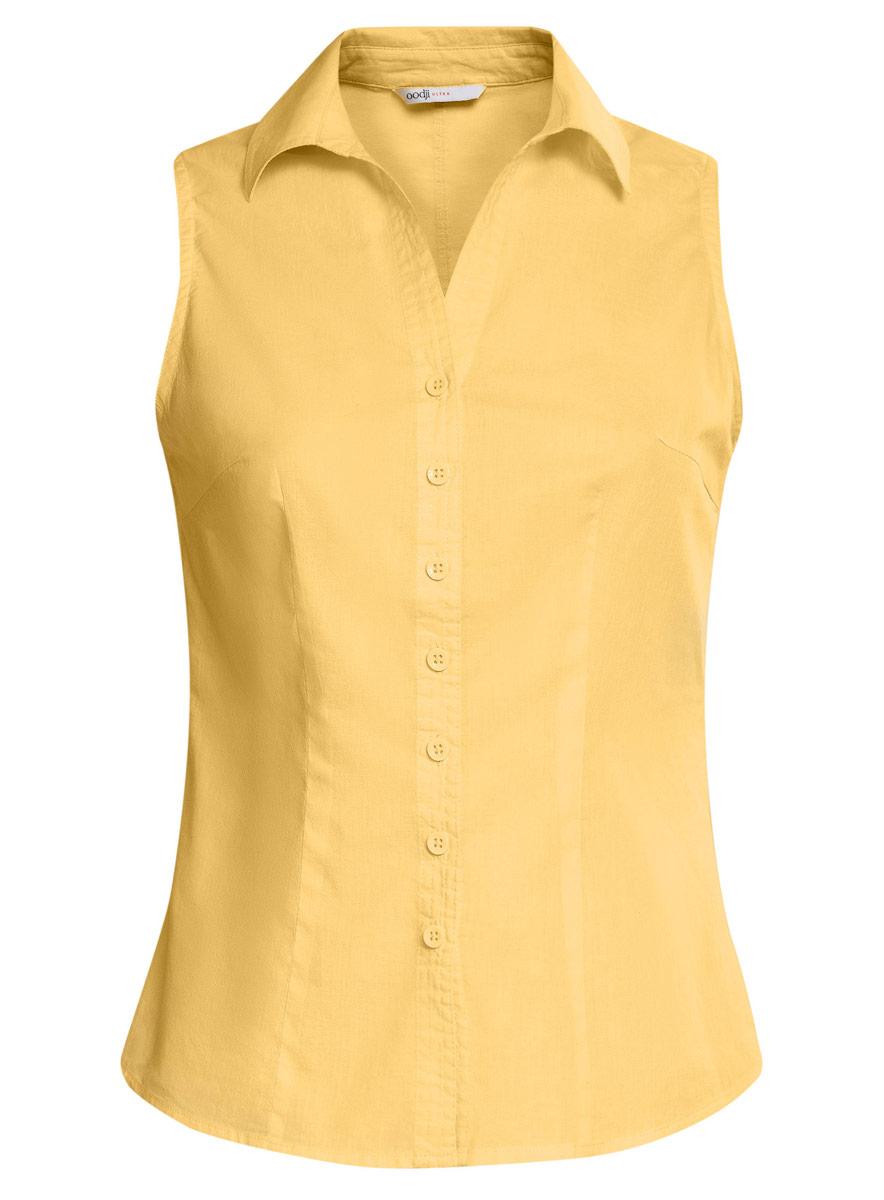 Блузка женская oodji Ultra, цвет: желтый. 11405063-6/45510/5000N. Размер 34 (40-170)11405063-6/45510/5000NБлузка oodji Ultra выполнена из натурального хлопка. Модель с отложным воротником не имеет рукавов и застегивается по всей длине с помощью пуговиц. Спереди блузка дополнена элегантным V-образным вырезом.