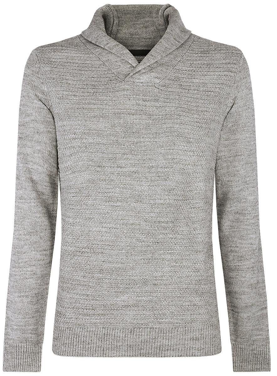 Пуловер мужской oodji, цвет: серый. 4L210006M/25700N/2000M. Размер M (50)4L210006M/25700N/2000MСтильный мужской пуловер выполнен из акрила и шерсти. Модель с отложным воротником и длинными рукавами.