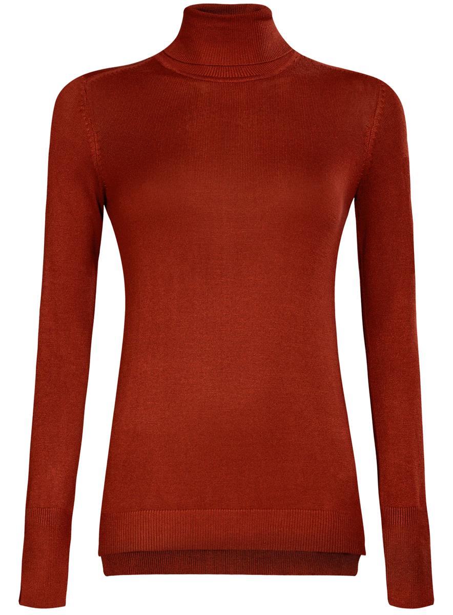 Водолазка женская oodji Collection, цвет: красно-коричневый. 74412572B/24525/3100N. Размер M (46) oodji водолазки