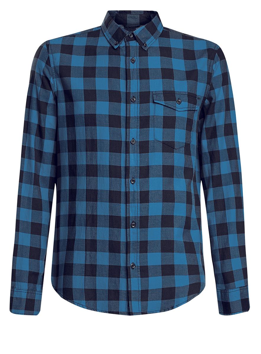 Рубашка мужская oodji, цвет: синий, черный. 3L310129M/39882N/7975C. Размер XL (56-182)3L310129M/39882N/7975CСтильная мужская рубашка oodji выполнена из натурального хлопка. Модель с отложным воротником и длинными рукавами застегивается на пуговицы спереди. Манжеты рукавов дополнены застежками-пуговицами. Оформлена рубашка стильным принтом в клетку и дополнена нагрудным накладным кармашком с защитной планкой на пуговице.