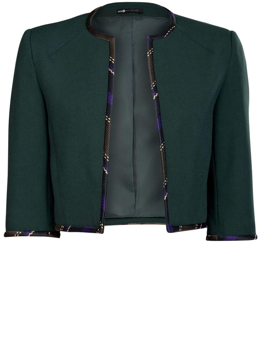 Купить Болеро женское oodji Collection, цвет: темно-зеленый. 22A00002/31291/6C00N. Размер 36 (42-170)