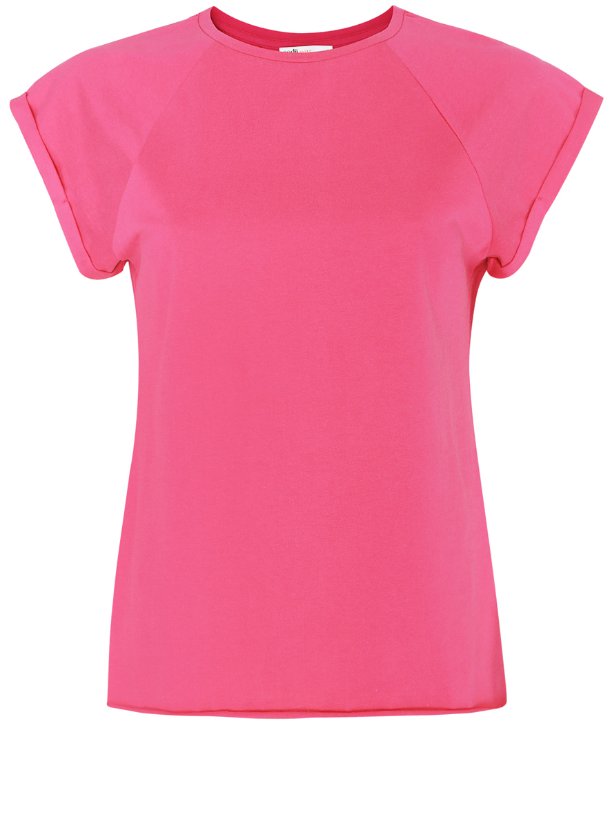 Футболка женская oodji Ultra, цвет: розовый. 14707001-4B/46154/4D00N. Размер M (46)14707001-4B/46154/4D00NЖенская футболка выполнена из хлопка. Модель с круглым вырезом горловины и короткими рукавами реглан, дополненными отворотом.