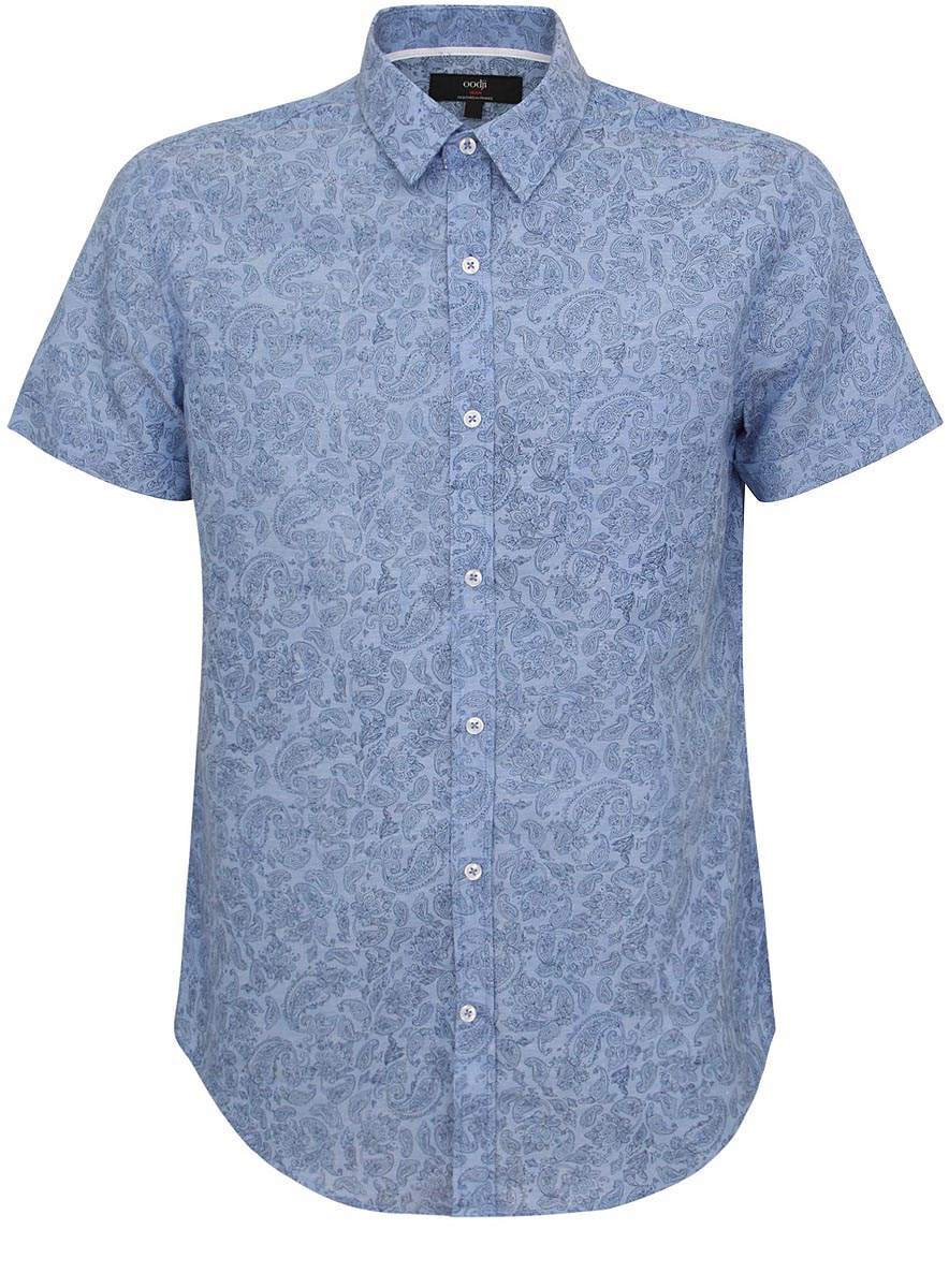Рубашка мужская oodji, цвет: светло-синий. 3L210022M/39675N/7023E. Размер 38 (44-182)3L210022M/39675N/7023EМужская рубашка oodji выполнена из хлопка с добавлением льна. Рубашка кроя slim с короткими рукавами и отложным воротником застегивается на пуговицы спереди. Манжеты рукавов также застегиваются на пуговицы. Рубашка оформлена принтом с оригинальным восточным орнаментом. На груди расположен накладной карман.