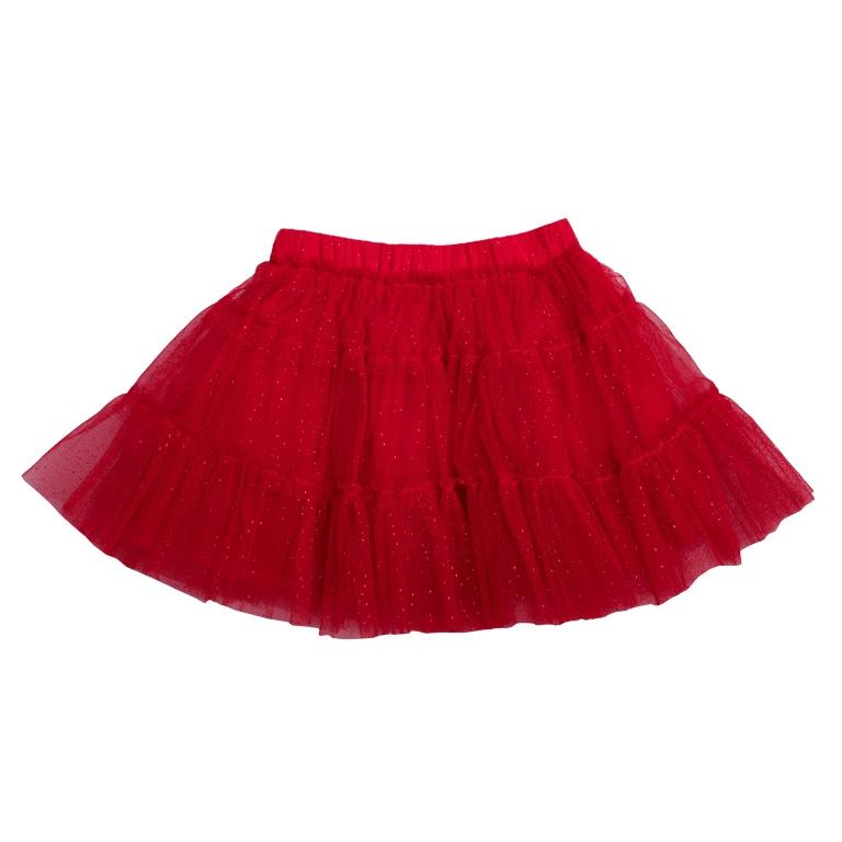 Юбка для девочки PlayToday, цвет: красный. 462008. Размер 98462008Пышная юбка-пачка для девочки выполнена из легкого сетчатого материала. Хлопковая подкладка и пояс на мягкой резинке обеспечивают максимальное удобство. Модель оформлена россыпью сверкающих блесток.