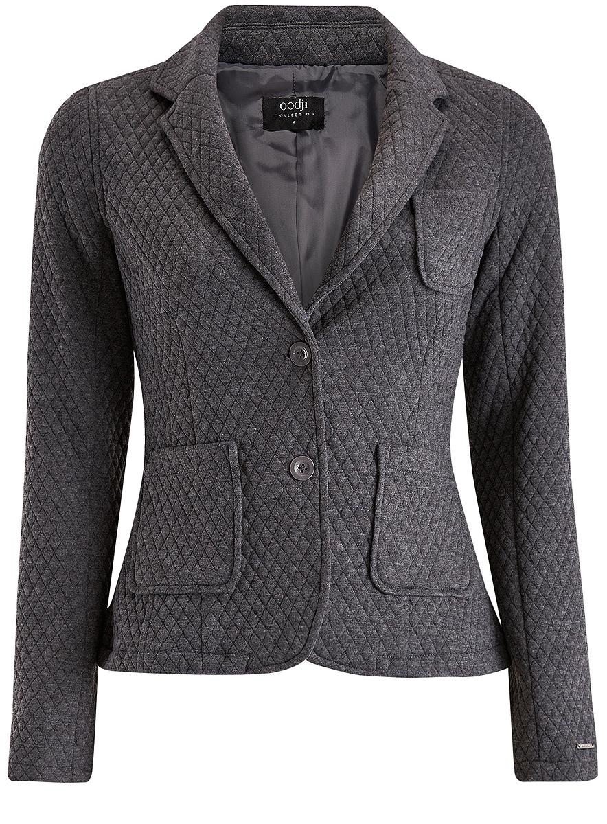 Купить Жакет женский oodji Collection, цвет: серый. 27900041/42408/2500M. Размер XXL (52)