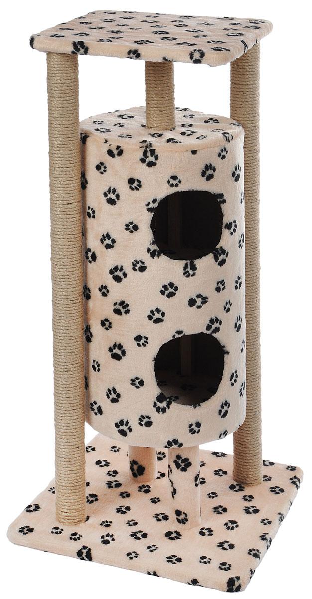 Домик-когтеточка Меридиан Ракета, 5-ярусный, цвет: бежевый, черный, 51 х 51 х 104 см домик когтеточка меридиан угловой 4 ярусный цвет тигровый 55 х 48 х 158 см