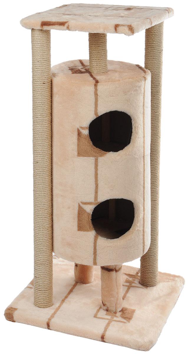 Домик-когтеточка Меридиан Ракета, 5-ярусный, цвет: бежевый, коричневый, 51 х 51 х 104 см домик когтеточка меридиан угловой 4 ярусный цвет тигровый 55 х 48 х 158 см