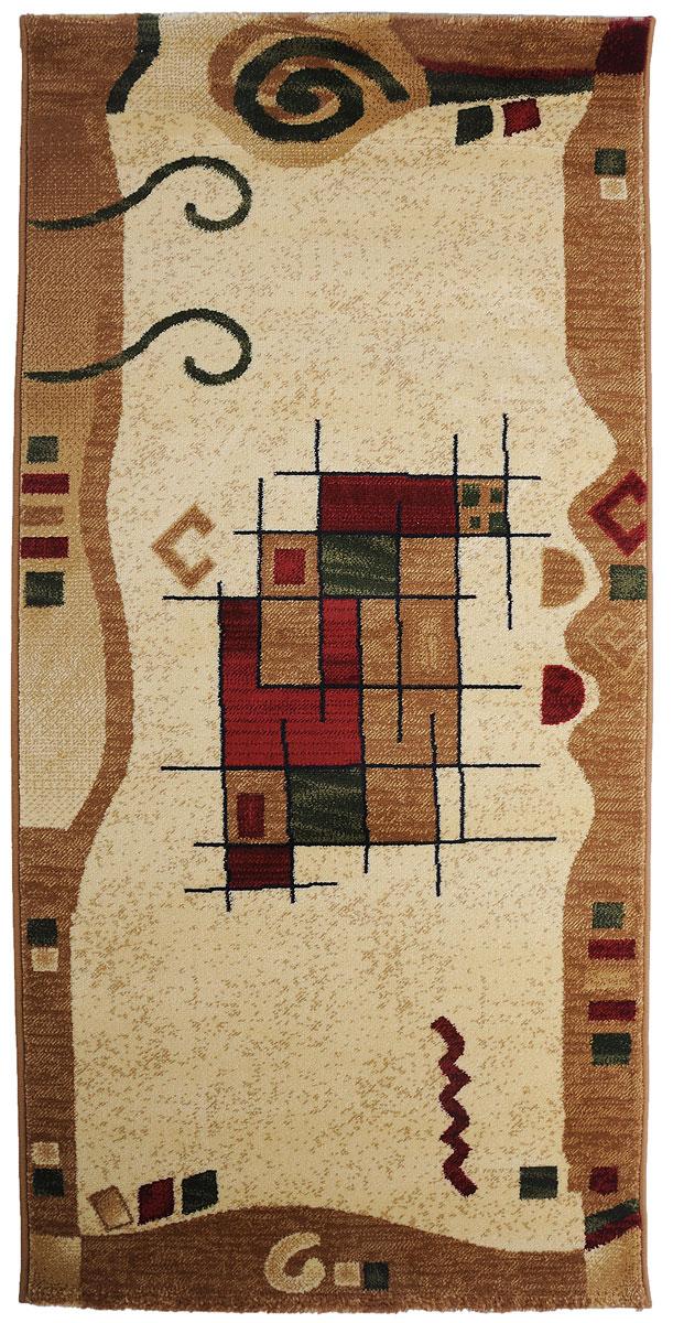 Ковер Kamalak Tekstil, прямоугольный, цвет: кремовый, зеленый, красный, 80 x 150 см. УК-0346УК-0346Ковры-паласы выполнены из полипропилена. Ковры обладают хорошими показателями теплостойкости и шумоизоляции. Являются гиппоалергенными. За счет невысокого ворса ковры легко чистить. Вам придется по душе широкая гамма цветов и возможность гармонично оформить интерьер. Практичный и устойчивый к износу ворс - от постоянного хождения не истирается, не накапливает статическое электричество. Структура волокна в полипропиленовых моделях гладкая, поэтому грязь не может выесться, на ворсе она скапливается с трудом. Полипропилен не впитывает влагу, отталкивает водянистые пятна. Уход: Самый простой способ избавить изделие от грязи – пропылесосить его с обеих сторон (лицевой и изнаночной).Влажная уборка с применением шампуней и моющих средств не противопоказана. Если шерсти и шёлку универсальные чистящие составы не подходят, то для синтетики они придутся в самый раз.Хранить их нужно рулоном, не складывая «салфеткой».При надлежащем уходе синтетический ковёр прослужит долго, не утратив ни яркости узора, ни блеска ворса, ни его упругости.