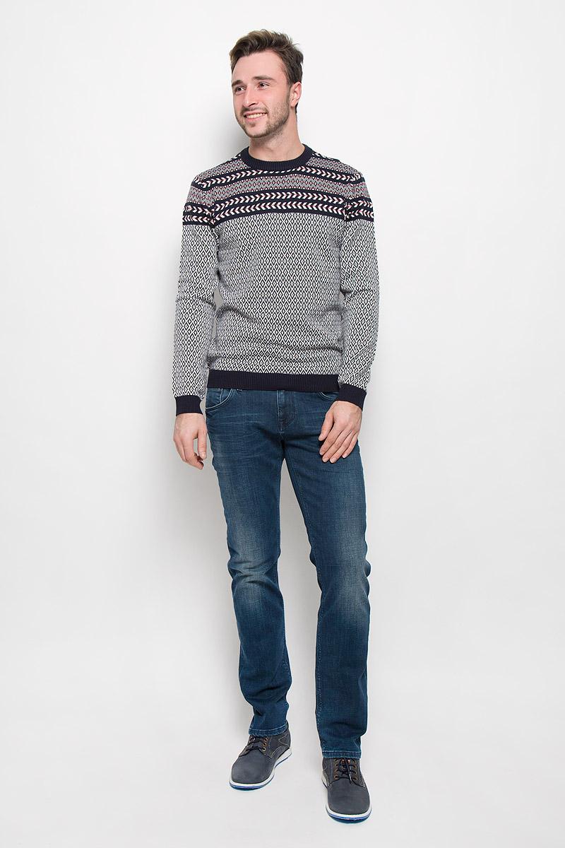 Джемпер мужской Mexx, цвет: темно-синий, белый. MX3023803_MN_PLV_008. Размер XXL (56) пуловер мужской karff цвет синий бордовый черный 88004 01 размер xxl 56