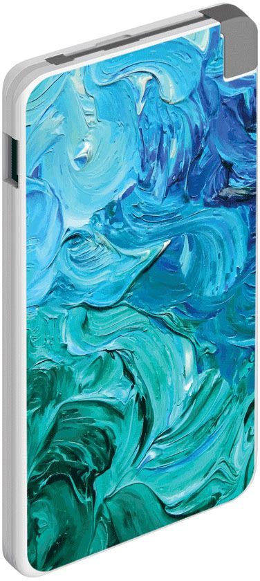 Deppa NRG Art Волна внешний аккумулятор (5000 мАч) 2600mah power bank usb блок батарей 2 0 порты usb литий полимерный аккумулятор внешний аккумулятор для смартфонов светло зеленый