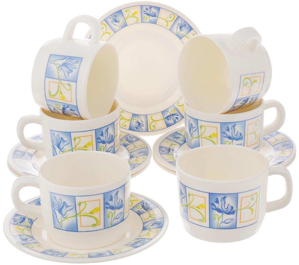 Набор чайный Calve, цвет: белый, голубой, 12 предметовCL-2509_белый, голубойЧайный набор Calve состоит из шести чашек и шести блюдец, выполненных из меламина. Изделия оформлены ярким рисунком. Изящный набор эффектно украсит стол к чаепитию и порадует вас функциональностью и ярким дизайном.Можно мыть в посудомоечной машине. Диаметр чашки (по верхнему краю): 8 см. Высота чашки: 6 см. Объем чашки: 240 мл.Диаметр блюдца: 14,5 см. Высота блюдца: 1,5 см.