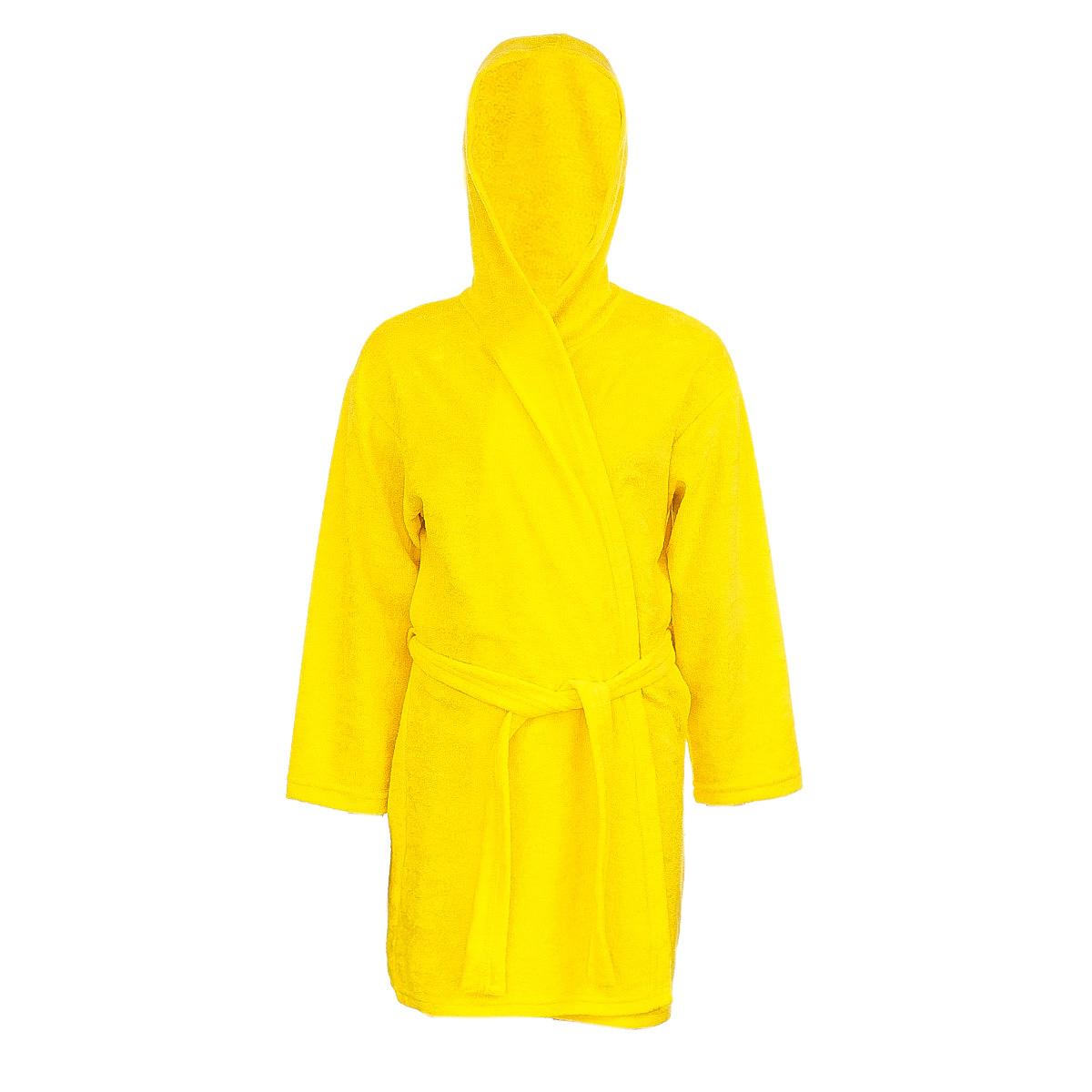 Халат детский M&D, цвет: желтый. Х70502. Размер 128Х70505Мягкий и пушистый халат от фирмы M&D выполнен из хлопка с добавлением полиэстера, приятен к телу и износоустойчив.Халат можно носить по дому или надевать выходя из ванной. Ткань хорошо впитывает влагу и быстро сохнет. Модель с капюшоном и длинными рукавами оснащена шлёвками и поясом.Изделие понравится ребенку, подарит ему тепло, комфорт и уют.