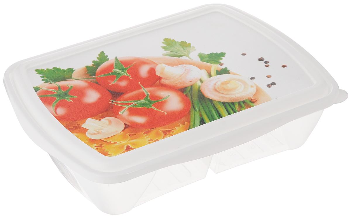 Контейнер двухсекционный Phibo Рондо. Помидоры и грибы, 1,25 лС11737_Контейнер Phibo Рондо. Помидоры и грибы изготовлен из пищевого пластика, устойчивого к высоким температурам. Крышка плотно закрывается, дольше сохраняя еду свежей и вкусной. Контейнер снабжен 2 секциями, которые позволяют хранить сразу несколько продуктов или блюд. Такой контейнер удобно брать с собой на работу, учебу, пикник или просто использовать для хранения продуктов в холодильнике.Подходит для разогрева пищи в микроволновой печи и для заморозки в морозильной камере. Можно мыть в посудомоечной машине.