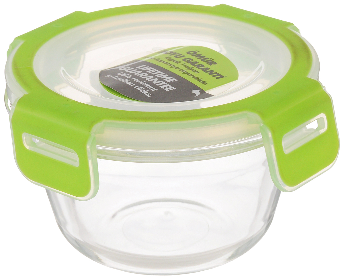 """Контейнер Pasabahce """"Storemax"""", выполненный из  высококачественного закаленного стекла,  предназначен для хранения продуктов. Благодаря высокому  качеству материала и герметичной  пластиковой крышке с защелками продукты в контейнере  дольше сохранят свежесть, сочность и  аромат. Крышка имеет силиконовую вставку,  предотвращающую выскальзывание контейнера из  рук при открывании.  Можно мыть в посудомоечной машине и использовать в  микроволновой печи. Подходит для  хранения в холодильнике.  Размер контейнера: 11,8 х 11,8 см.   Высота (без учета крышки): 6,7 см.  Объем: 340 мл."""