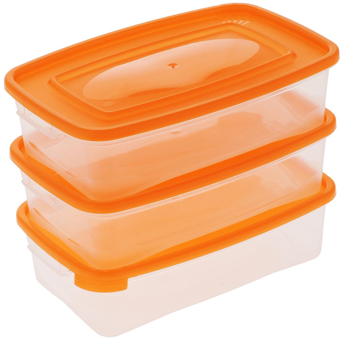 Набор контейнеров Полимербыт Каскад, цвет: оранжевый, прозрачный, 700 мл, 3 штС54001_оранжевыйНабор контейнеров Полимербыт Каскад изготовлен из высококачественного прочного пластика, устойчивого к высоким температурам. Стенки контейнера прозрачные, что позволяет видеть содержимое. Цветная полупрозрачная крышка плотно закрывается. Контейнер идеально подходит для хранения пищи, его удобно брать с собой на работу, учебу, пикник или просто использовать для хранения пищи в холодильнике.Можно использовать в микроволновой печи при температуре до +120°С (при открытой крышке) и для заморозки в морозильной камере при температуре до -40°С. Можно мыть в посудомоечной машине.Размер одного контейнера: 18,5 х 12 х 5,5 см.Комплектация: 3 шт.