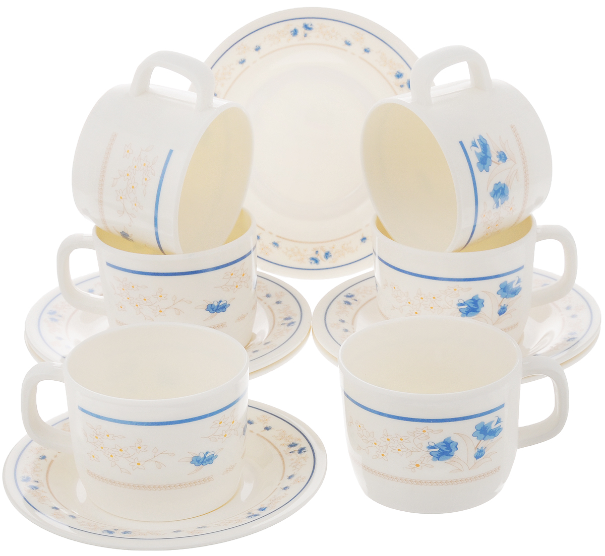 Набор чайный Calve, цвет: белый, синий, 12 предметовCL-2509_белый, синий цветокЧайный набор Calve состоит из шести чашек и шести блюдец, выполненных из меламина. Изделия оформлены ярким рисунком. Изящный набор эффектно украсит стол к чаепитию и порадует вас функциональностью и ярким дизайном. Можно мыть в посудомоечной машине.Диаметр чашки (по верхнему краю): 8 см.Высота чашки: 6 см.Объем чашки: 240 мл. Диаметр блюдца: 14,5 см.Высота блюдца: 1,5 см.
