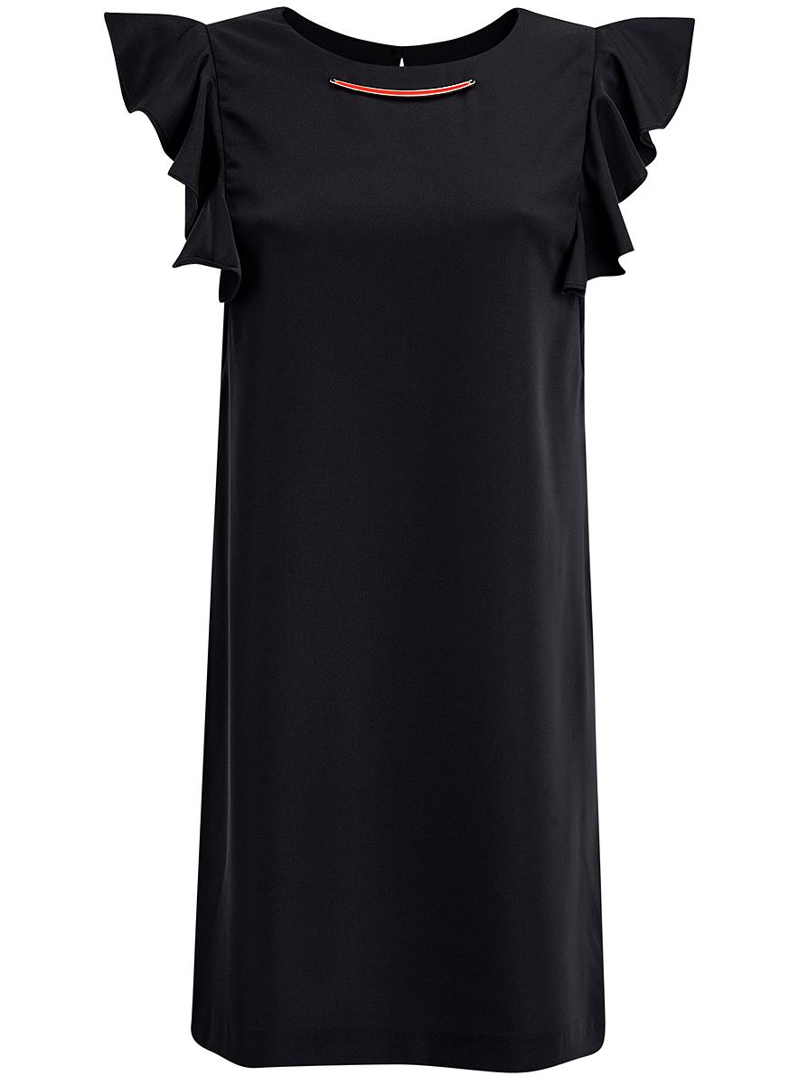 Платье oodji Collection, цвет: черный. 21909002/42720/2900N. Размер 36 (42-170) платье oodji collection цвет черный 73912217 2b 33506 2900n размер l 48