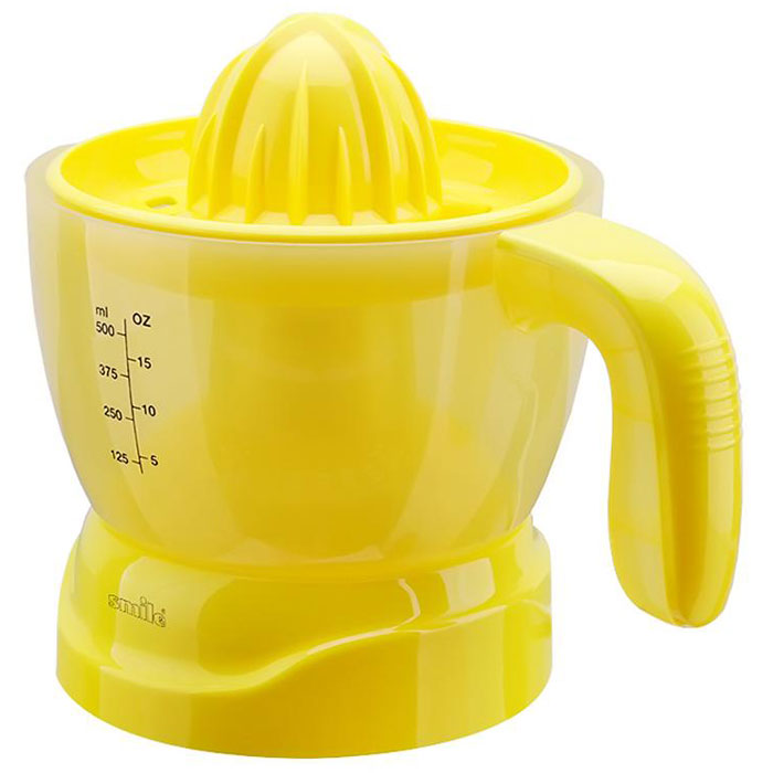 Smile CP 2613, Yellow соковыжималка для цитрусовыхCP 2613Smile CP 2613 - это соковыжималка для цитрусовых, которая обладает высокой эффективностью и современным эргономичным ярким дизайном. Мощность данной модели составляет 30 Вт. Данное устройство очень простое и удобное в использовании, вы сможете быстро и легко приготовить вкусный и полезный сок. Модель снабжена прорезиненными ножками, которые не позволяют ей скользить по поверхности стола. Соковыжималка легко моется, а также ее удобно хранить, поскольку она обладает компактными размерами.