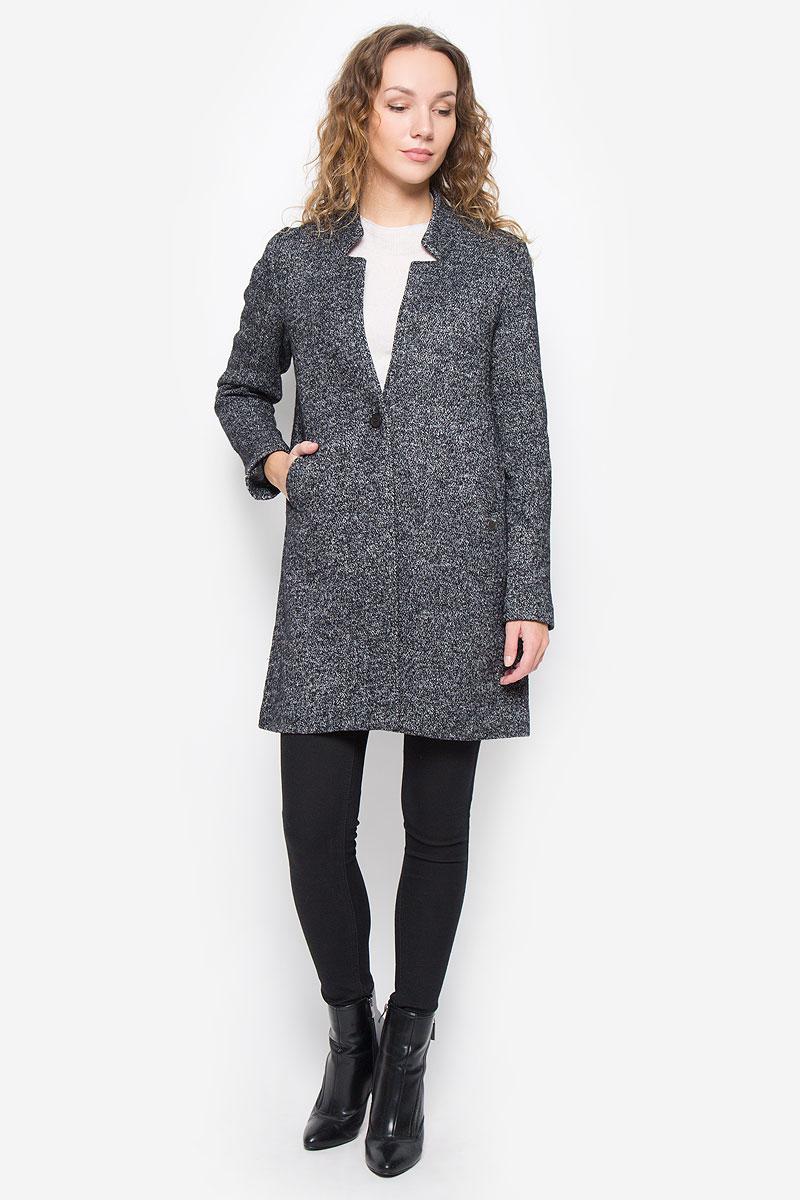 Пальто женское Lee Cooper, цвет: черный, светло-серый. FELICE-5002/BLACK. Размер L (48) платье lee cooper цвет белый desire 5094 размер l 50