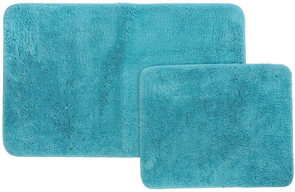 Набор ковриков для ванной и туалета Axentia, цвет: бирюзовый, 2 шт116137Набор Axentia, выполненный из микрофибры (100% полиэстер), состоит из двух стеганых ковриков для ванной комнаты и туалета. Противоскользящее основание изготовлено из термопластичной резины и подходит для полов с подогревом. Коврики мягкие и приятные на ощупь, отлично впитывают влагу и быстро сохнут. Высокая износостойкость ковриков и стойкость цвета позволит вам наслаждаться покупкой долгие годы. Можно стирать в стиральной машине. Размер ковриков: 50 х 80 см; 50 х 40 см.Высота ворса 1,5 см.