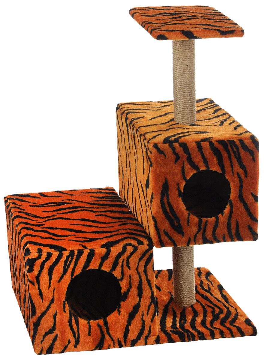 Домик-когтеточка Меридиан Разноуровневый, 3-ярусный, цвет: оранжевый, черный, бежевый, 66 х 36 х 94 см домик когтеточка меридиан угловой 4 ярусный цвет тигровый 55 х 48 х 158 см